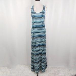 TRINA TURK blue geometric tank knit maxi dress